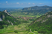 View of Kofel, Weitmoos and Oberammergau, from the Notkarspitze, Ammergau Alps, Upper Bavaria, Bavaria, Germany
