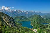 Tiefblick auf Alpsee und Schwansee, Tannheimer Berge im Hintergrund, vom Tegelberg, Ammergauer Alpen, Schwaben, Bayern, Deutschland