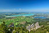 Deep view of Forggensee and Bannwaldsee, Tegelberg, Ammergau Alps, Swabia, Bavaria, Germany