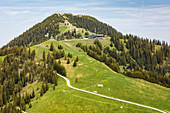 View of the Wallberg with chapel and mountain station, Tegernsee, Bavaria, Germany