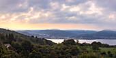View from Trarego to Lake Maggiore, Viggiona, Lake Maggiore, Piedmont, Italy