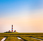 Westerhever lighthouse, Eiderstedt peninsula, North Frisia, Schleswig-Holstein, Germany