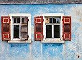colorful shutters on an old house, Baden Württemberg, Germany