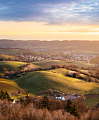 Messbach im Odenwald at sunrise, Odenwald, Hesse, Germany
