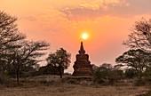 Temple at sunset near Minnanthu village, Bagan, Myanmar