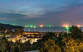 View over Mae Haad Beach at dark, Koh Phangan. Thailand