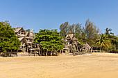 Hippie bar in the northern part of Buffalo Bay (Ao Khao Kwai) with boats, Koh Phayam. Thailand