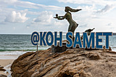 Mermaid statue with Koh Samet lettering on Ao Phai beach, Koh Samet, Thailand