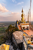 Plateau of Tiger Cave Mountain, Tiger Cave Temple (Wat Tham Sua) in the evening light, Krabi Town, Thailand