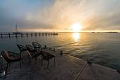 Sunrise over the Bacalar Lagoon, Quintana Roo, Yucatan Peninsula, Mexico