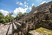 Stairs of Mayan pyramid on Calakmul temple grounds in the jungle, Yucatan Peninsula, Mexico