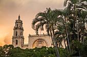 View from park of Merida Cathedral at sunset, Yucatan, Mexico