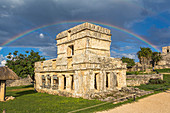 Rainbow over ancient Mayan building, Tulum Ruins, Quintana Roo, Yucatan Peninsula, Mexico