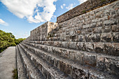 Stone stairs of Mayan pyramid in ancient Mayan city of Uxmal, Yucatan, Mexico