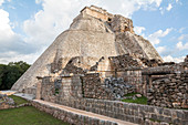 Pyramid of the magician in ancient Maya city Uxmal, Yucatan, Mexico