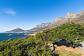 Lookout point on 12 Apostle mountain range and Lion's Head at Camps Bay, Cape Town, South Africa
