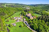 Aerial view of Hamm Castle in Prümtal, Eifel, Rhineland-Palatinate, Germany