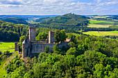 Aerial view of Kasselburg in Pelm near Gerolstein, Eifel, Rhineland-Palatinate, Germany