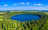 Aerial view of the Pulvermaars near Gillenfeld, Eifel, Rhineland-Palatinate, Germany