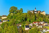 View of Daun with castle, Eifel, Rhineland-Palatinate, Germany