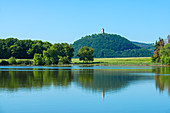 The Rodder Maar near Niederzissen with a view of Olbrück Castle, Eifel, Rhineland-Palatinate, Germany