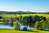 The Booser Maar with a view of Nürburg, Eifel, Rhineland-Palatinate, Germany