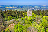 Luftaufnahme der Ruine Koppenstein bei Gemünden, Hunsrück, Rheinland-Pfalz, Deutschland