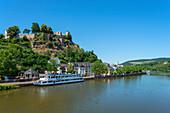 View of Saarburg with Saar, castle and excursion boat, Rhineland-Palatinate, Germany