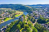 Aerial view of Saarburg with Saar and castle, Hunsrück, Rhineland-Palatinate, Germany