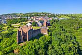 Aerial view of Freudenburg Castle, Freudenburg, Hunsrück, Rhineland-Palatinate, Germany
