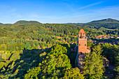 Aerial view of Berwartstein Castle near Erlenbach, Dahn, Wasgau, Palatinate Forest, Rhineland-Palatinate, Germany