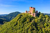 Aerial view of Trifels Castle near Annweiler, Wasgau, Palatinate Forest, Rhineland-Palatinate, Germany