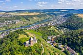 Aerial view of the Oberburg with St. Mathias Chapel near Kobern-Gondorf, Mosel, Rhineland-Palatinate, Germany