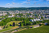 Aerial view of Trier with amphitheater, Moselle, Rhineland-Palatinate, Germany