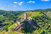 Luftaufnahme der Niederburg in Kobern-Gondorf, Mosel, Rheinland-Pfalz, Deutschland