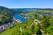 Aerial view of Traben-Trarbach with the ruined castle Grevenburg, Moselle, Rhineland-Palatinate, Germany