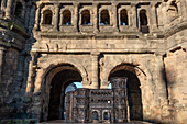 Model of the Porta Nigra in front of the original, Trier, Mosel, Rhineland-Palatinate, Germany
