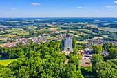 Aerial view of the German-French meeting place at Schaumbergturm near Tholey, Saarland, Germany