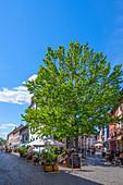 Restaurants in the old town of Saarlouis, Saarland, Germany