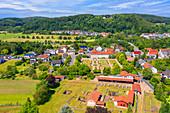 Aerial view of the Schwarzenacker Roman Museum near Homburg, Saarland, Germany