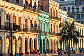 Colorful colonial style house facades in evening light, Old Havana, Cuba