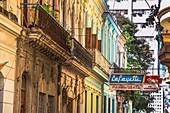 Colorful colonial house facades, Old Havana, Cuba