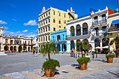 """""""Plaza Vieja"""" - square with colorful Cuban house facades in colonial style, old town of Havana, Cuba"""