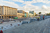 View from the Capitol stairs to large street in front of it, Old Havana, Cuba