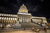 Bottom view of the Capitol at night, Old Havana, Cuba