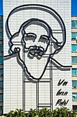 """Fidel Castro outline at house at """"Plaza de la Revolucion"""" in Havana, Cuba"""