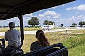 bush plane on dirt runway,landing, Botswana