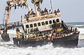 Zeila shipwreck / ghost ship on the Skeleton Coast near Henties Bay, Namibia