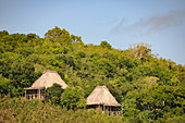 Small huts of a beach resort, surrounded by tropical vegetation, Fiji ISlands