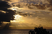 Beautiful sunset in the tropics with a view of the Pacific, Savusavu, Fiji